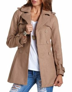 pleated back belted peacoat