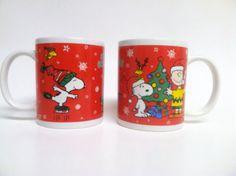 Set of 2 Peanuts Christmas Holiday Coffee Mugs, Snoopy Charlie Brown Woodstock
