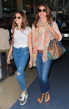 Cute duo: Cindy Crawford and her teenage daughter Kaia Gerber matched in denim and shades ...