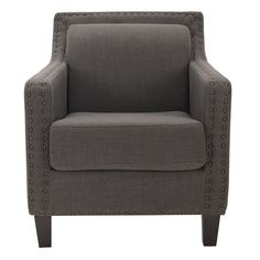 In the Charles George arm chair a familiar form is dressed up with silver nail head details for fresh interest. Shown in linen with birch wood legs in a java finish, Charles George is at home in classic traditional and transitional settings. Grey Accent Chair, Accent Chairs, Grey Chair, Accent Furniture, Home Furniture, Furniture Chairs, Upholstered Chairs, Furniture Ideas, Furniture Outlet