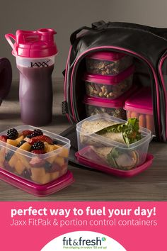 The Jaxx FitPak has all of the essentials to fuel your day. Meal management set includes (6) leak-proof portion control containers [(2) 1 cups & (4) 2 cups], a patented 28 ounce Jaxx Shaker Cup, a poc
