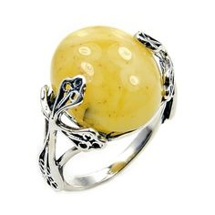 'Celtic Cross' Sterling Silver Natural Butterscotch Baltic Amber Ring, Size 6.25