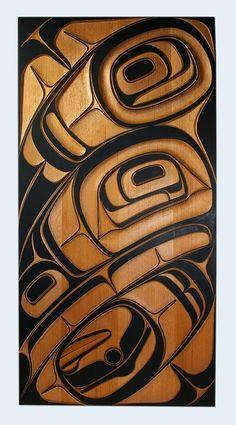 Phil Gray/ Red Cedar Raven Panel, Northwest Coast Native