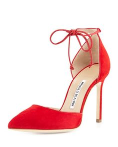 Leyan+Suede+Ankle-Tie+d\'Orsay+Pump,+Red+by+Manolo+Blahnik+at+Neiman+Marcus.