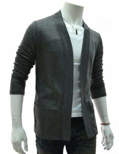 TheLees Men's Slim Fit Knitted Long Cardigan