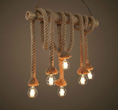 Industrial Pendant Lamp Retro Vintage Edison Nautical Manila Rope Ceiling Light #Unbranded #Country