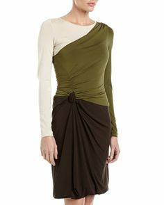 Colorblock Draped Jersey Dress, Brown/Green/Ivory by Philosophy di Alberta Ferretti at Neiman Marcus Last Call. $299.25