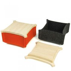 """Felt Box with Bamboo Top, handmade by Shine Labs in San Francisco; Box of 100% wool felt; top of 100% FSC-certified bamboo manufactured with no-VOC adhesives; 5"""" x 5"""" x 3""""   Provides a convenient place to stow life's little necessities; fully stackable.  $29"""