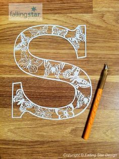 S is for Butterfly Letter Papercutting Template by FallingStarCuts