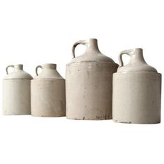 Antique American Stoneware Jugs - Collection of 4 ($945) ❤ liked on Polyvore featuring home, kitchen & dining, serveware, decanters and stoneware jug