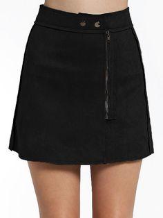 Black High Waist Zipper Skirt 16.82