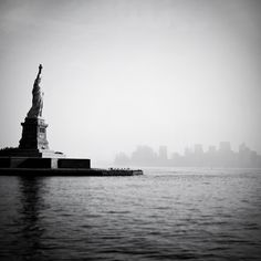 Gift for dad, Father's day, Statue of Liberty photo, New York City Manhattan skyline cityscape, neoclassical black and white urban decor. $25.00, via Etsy.