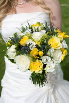 Spring wedding bouquet of daffodils, thistle and freesia For our Welsh bride and her Scottish Groom
