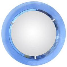 Round Blue Glass Mirror by Cristal Art, Italy 1950