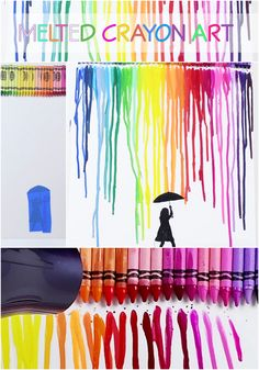 Melted Crayon Art! #creative #diy #babyfirst #crayons #hack #arts #crafts #art #crafty #parenting #kids #moms #meltedcrayon