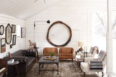 Gorgeous American Ranch / small leather chairs