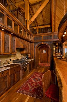 North Carolina Hybrid Log Home is part of Rustic Living Room And Kitchen - The best of both worlds combine to create this North Carolina hybrid log home Log Cabin Living, Log Cabin Homes, Log Cabins, Mountain Cabins, Log Home Interiors, Log Home Decorating, Decorating Tips, Timber House, House Goals