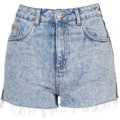 TopShop Moto Acid Wash Mom Short ($40) ❤ liked on Polyvore featuring shorts, high rise shorts, high-waisted shorts, topshop, high-rise shorts and acid wash shorts