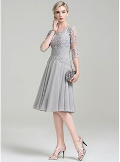 Knee Length Chiffon Mother of the Bride Dresses