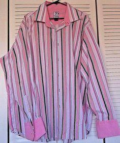 RAW BLUE Men's Striped Button Down L/S Dress Shirt Big Size 3XL (XXXL) Stripes  #RawBlue #ButtonFront