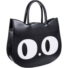 Banned Lizzy The Big Eyed Cat Bag (Black) ($31) ❤ liked on Polyvore featuring bags, handbags, cat purse, vintage style purses, purse bag, handbag purse and man bag