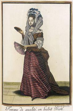Recueil des modes de la cour de France, 'Femme de qualité, en habit D'esté'  France, Paris, 1687 LACMA Collections