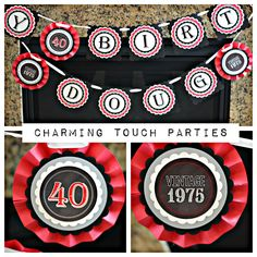 Modern and Masculine 30th, 40th, 50th, 60th birthday banner by Charming Touch Parties.  Chalkboard, red, black and grey.  Customizable. by CharmingTouchParties on Etsy