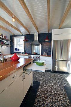Cement tile floor like a rug Design Commercial, Kitchen Island, Kitchen Cabinets, Tile Floor, Flooring, Bromont, Cement, Designer, Home Decor