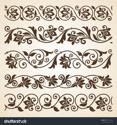 stock-vector-vector-set-of-floral-elements-seamless-pattern-for-frames-and-borders-147766394.jpg (1500×1600)