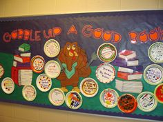 Thanksgiving bulletin board display, book titles are on plates--cute!