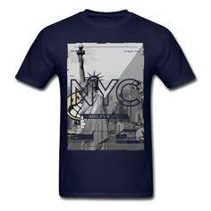 Smiley World New York City Statue Of Liberty Men's T-Shirt T Shirt Discount 100 % Cotton T Shirt For Men'S T-Shirt Men Clothing
