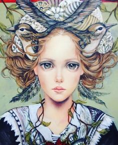 Title unknown -- by Mexican artist MONICA FERNANDEZ Pintero [Birds, or their nests/houses, are a common component in many Fernandez paintings. Art And Illustration, Mexican Artists, Heart Art, Whimsical Art, Surreal Art, Beautiful Artwork, Animal Paintings, Face Art, Fantasy Art