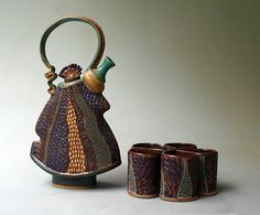 Hand-built Stoneware Tea Set with Five Cups