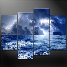 4 Panel Blue Wall Art Painting Dark Clouds Gather Together Surging Wave With Lighting The Sea Before Storm Prints On Canvas The Picture Seascape Pictures Oil For Home Modern Decoration Print Decor
