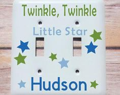 Personalized baby gift personalized nursery wall decor light custom light cover personalized baby gift light switch cover custom baby switch plate twinkle twinkly little star switch plate baby gift negle Gallery