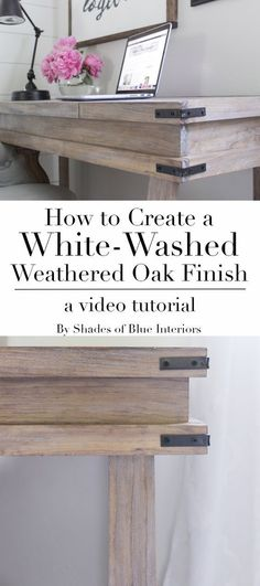 Creating a White-Washed Weathered Oak Finish- Video Tutorial - Shades of Blue Interiors How to achieve a white-washed weathered oak finish on plain smooth pine by creating a raised grain, staining and sealing, and then using white wax. Pine Furniture, Furniture Projects, Furniture Makeover, Painting Oak Furniture, Antique Furniture, Distressed Furniture, Modern Furniture, Outdoor Furniture, Furniture Design