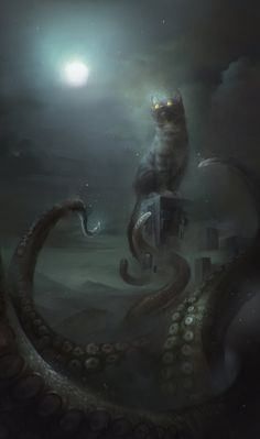 fhtagn-and-tentacles:  THE CAT FROM HELL by Scott Shi