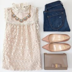 Nude. Love the top and sandals.
