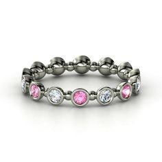 14K White Gold Ring with Pink Sapphire & Diamond | Seed & Pod Eternity Band | Gemvara