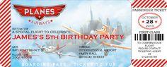 Disney Planes Personalized Digital Birthday Party Boarding Pass Invitation, Digital File, PDF, JPG for Disney Planes Invitation
