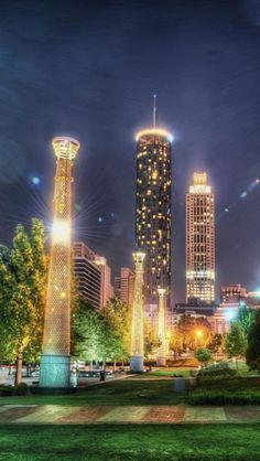 View of downtown from Centennial Olympic Park, Atlanta, GA Atlanta Downtown, Nashville, Atlanta Skyline, San Diego, San Francisco, Georgia Usa, Atlanta Georgia, Georgia United, States In America