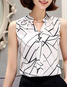 Fashionable V-Neck Printed Sleeveless Chiffon Blouse For Women