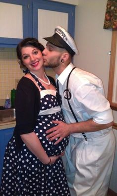 Couple's Halloween Costume: 50s pregnant housewife and the milkman