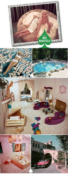 Jayne Mansfield's house. I die. I want that living room!! Forget Marilyn's shit!