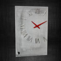 Concrete & Stainless steel Wall Clock by Legendaclocks on Etsy, $305.00