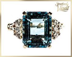 Vintage Aquamarine and Diamond Ring 14K Yellow di StratfordVault