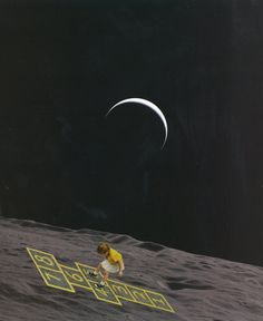 "Print - analog surrealist collage - ""A Day Under The Moon!"" / Surreal analog collage-wine"