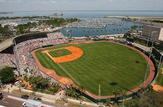 Al Lang Field in St. Petersburg, Florida.  It was home to the St. Petersburg Cardinals an A affiliate to the St. Louis Cardinals.  Florida State League.  Professional.