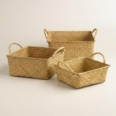 """Each perfectly sized to stow a whole array of odds and ends, these rustic square baskets with handles keep your home organized and beautified. •Small: 8""""Sq. x 3.25""""D •Medium: 9.5""""Sq. x 5""""D •Large: 11""""Sq. x 5""""D"""