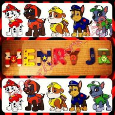 &A Easy DIY. Paw Patrol Party, Paw Patrol Birthday, Paw Patrol Bedroom Decor, Cumple Paw Patrol, Make Your Own Sign, Big Boy Bedrooms, Painted Letters, Toy Rooms, Dog Paws